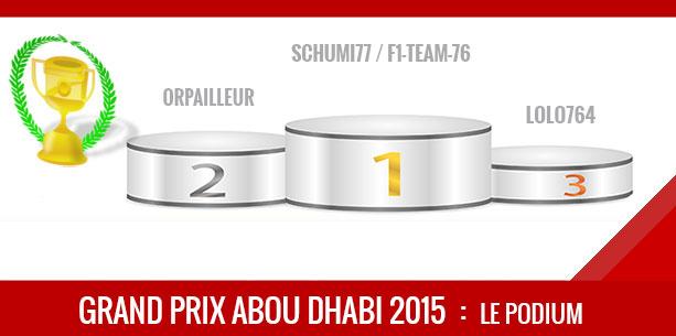 Pronos, Podium Abou Dhabi 2015