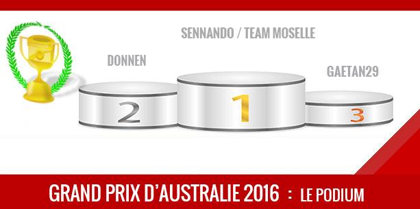 Australie 2016, Vainqueur Sennando