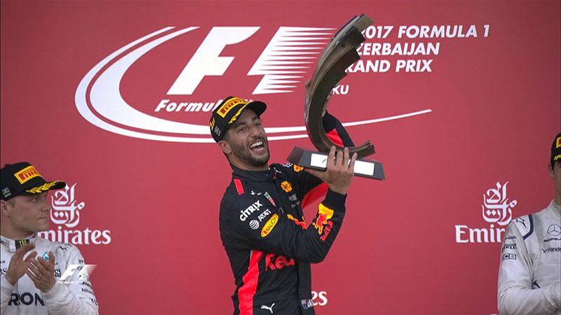 Daniel Ricciardo (Red Bull Racing) vainqueur du Grand Prix d'Azerbaïdjan 2017