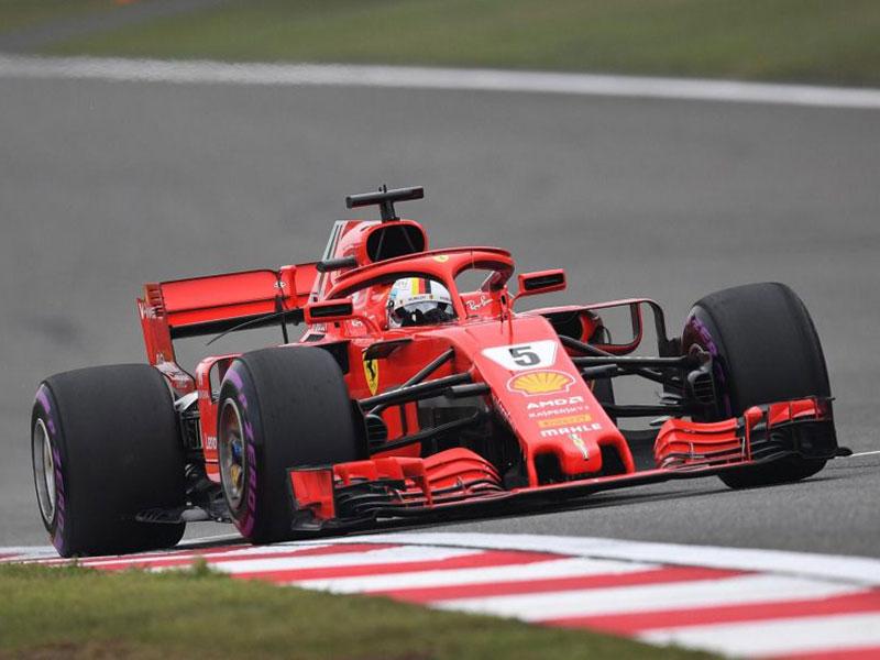 Sebastian Vettel (Ferrari) en pole position du Grand Prix d'Azerbaïdjan 2018