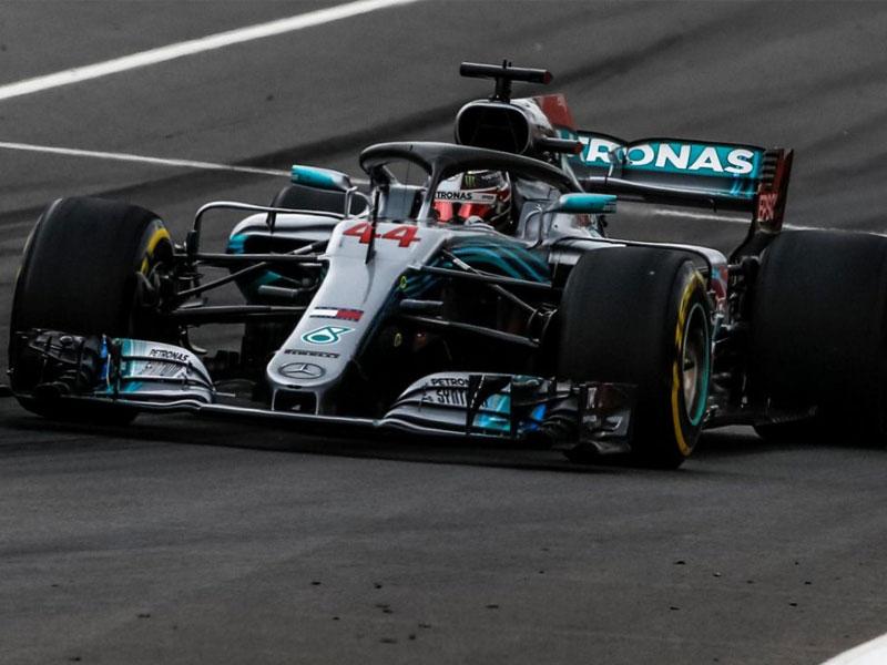 Lewis Hamilton (Mercedes AMG) en pole position lors du Grand Prix d'Espagne 2018