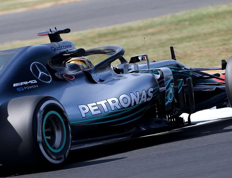 Lewis Hamilton (Mercedes AMG) en pole position lors du Grand Prix de Grande-Bretagne 2018