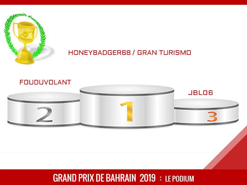 honeybadger68 Vainqueur du Grand Prix de Bahrain 2019