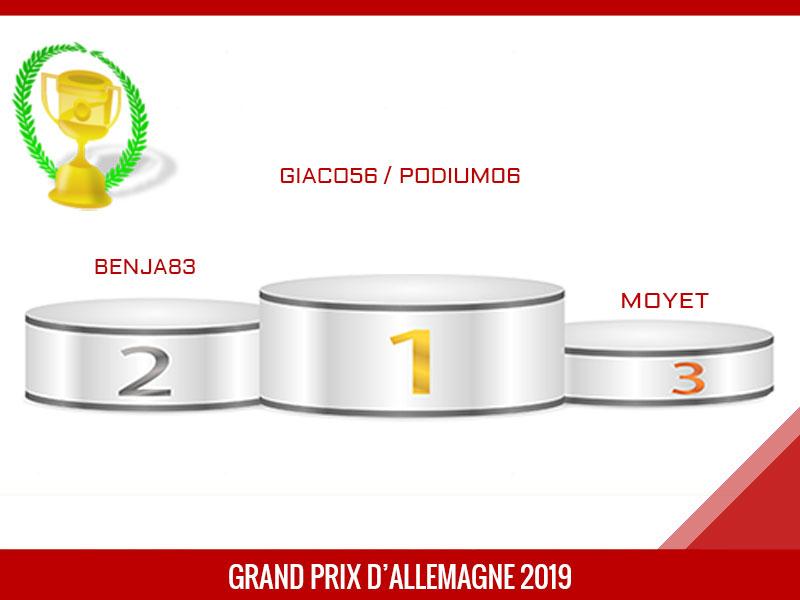 Giaco56 vainqueur du Grand Prix d'Allemagne 2019
