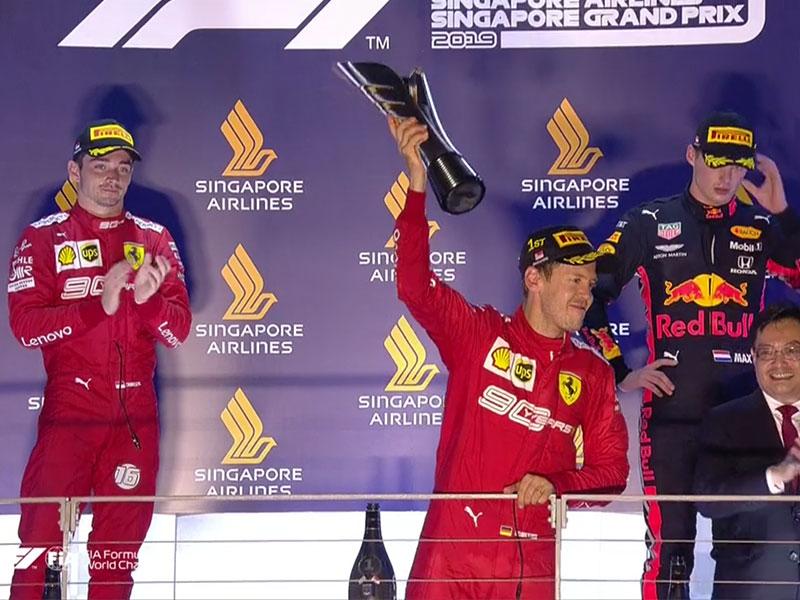 Sebastian Vettel (Scuderia Ferrari Mission Winnow) vainqueur du Grand Prix de Singapour 2019