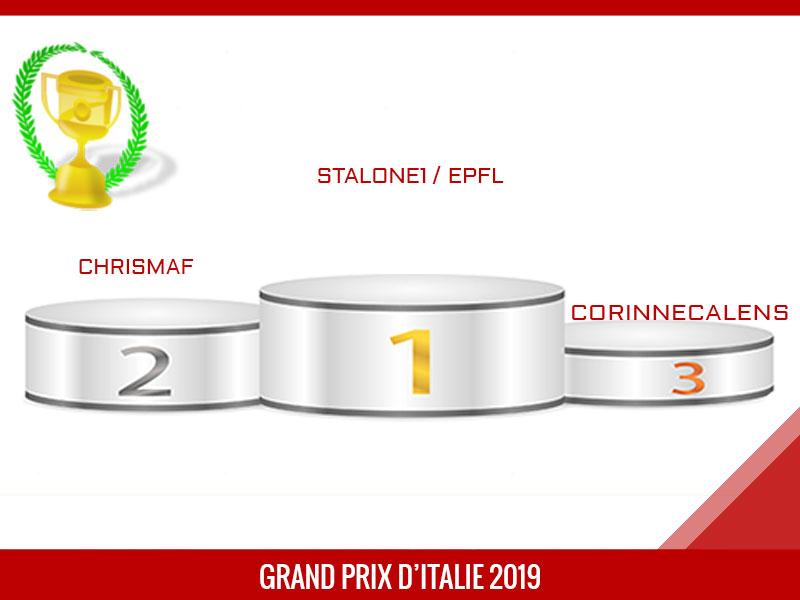 stalone1 vainqueur du Grand Prix d'Italie 2019