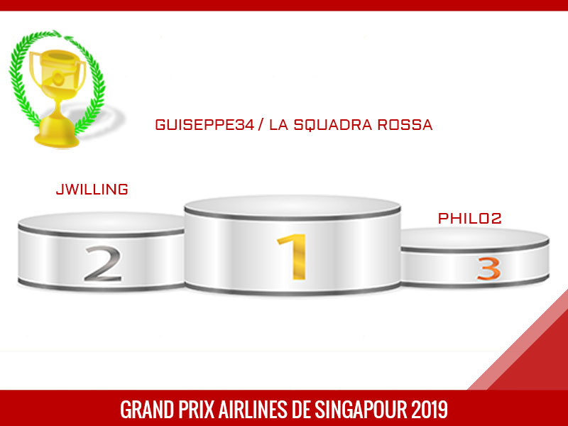 guiseppe34 vainqueur du Grand Prix de Singapour 2019