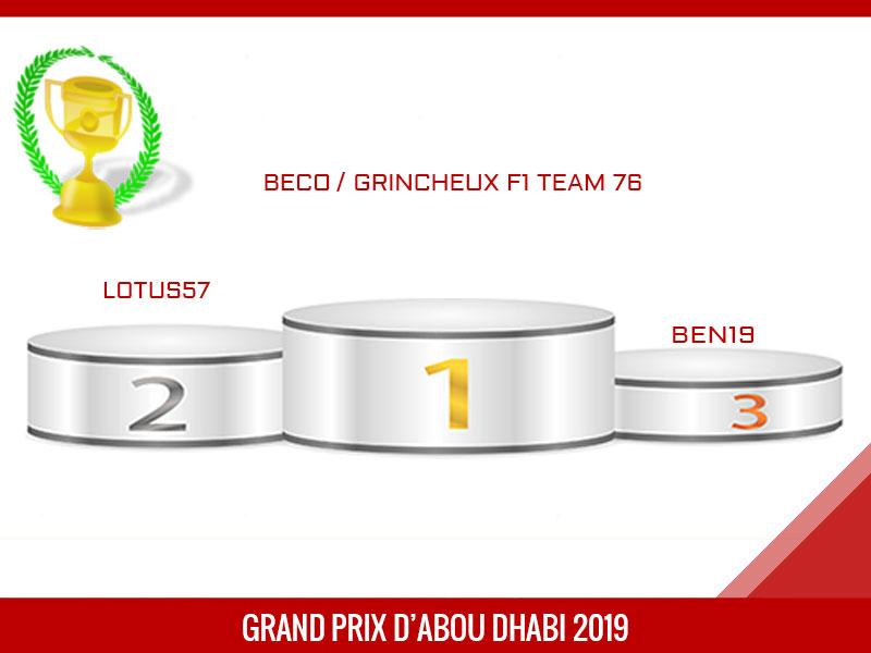 beco, vainqueur du Grand Prix d'Abou Dhabi 2019