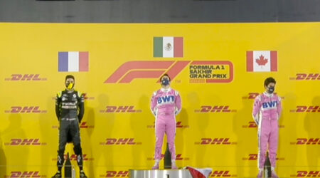 Sergio Perez (BWT Racing Point F1 Team) vainqueur du Grand Prix de Sakhir 2020